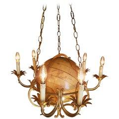 Six-Light Gilt-Metal World Globe Chandelier