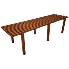 Midcentury Slat Bench
