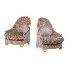 Pair of French Art Deco Giltwood Pair of Chairs Attributable to Paul Follot