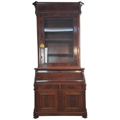 19th Century English Mahogany Wood Bookcase with Secretaire