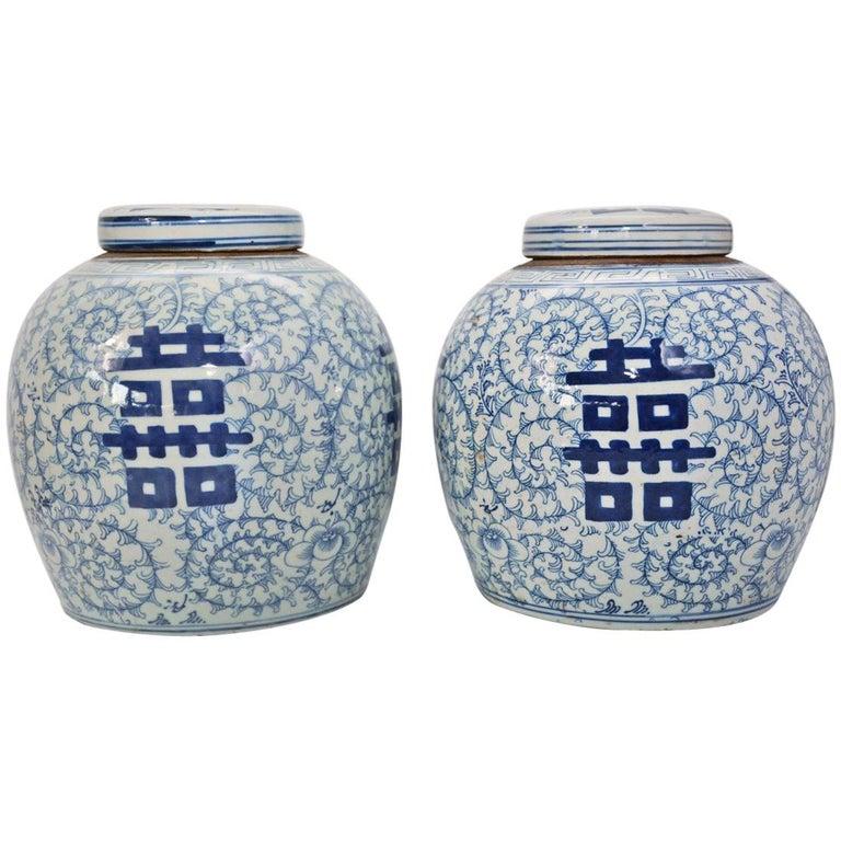 Pair of Vintage Export Porcelain Chinese Ginger Jars