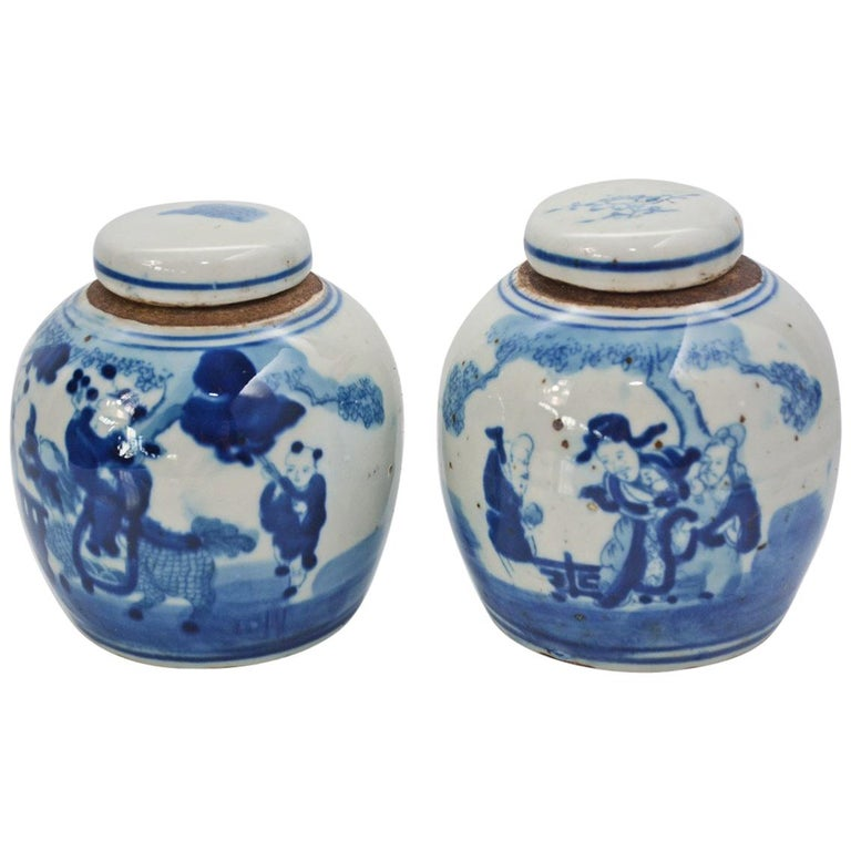 19th Century Blue and White Ginger Jar with Figurative Motif, Pair For Sale