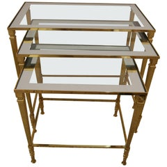 Maison Jansen Nesting Tables in Brass, Glass and Mirror