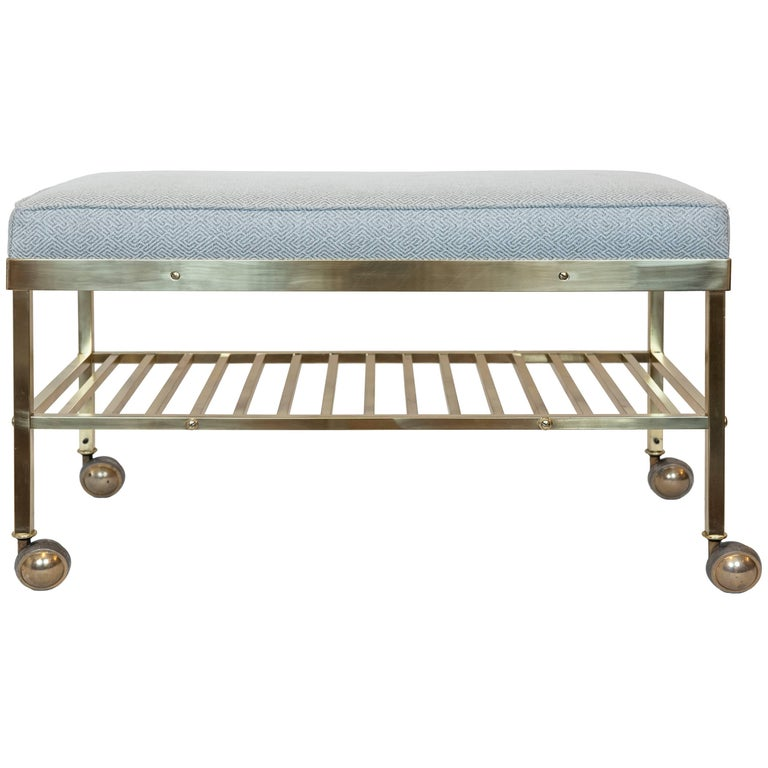 Vintage American Brass Bench On Castors For Sale