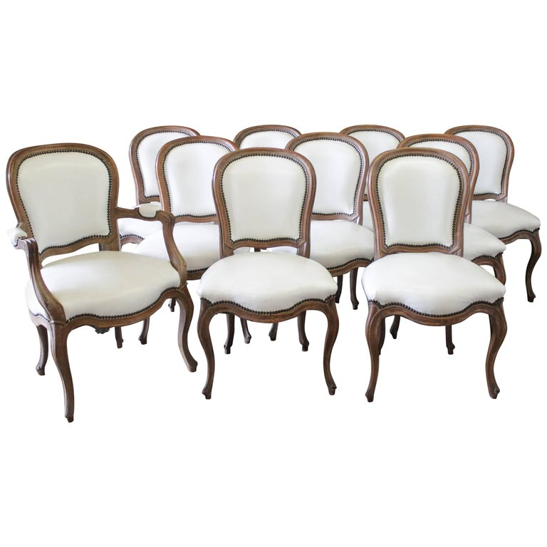 Set of Ten Early 20th Century Louis XV Style Dining Chairs in White Leather For Sale