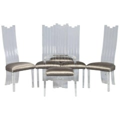 Set of Six Acrylic Sculpted Back Dining Chairs