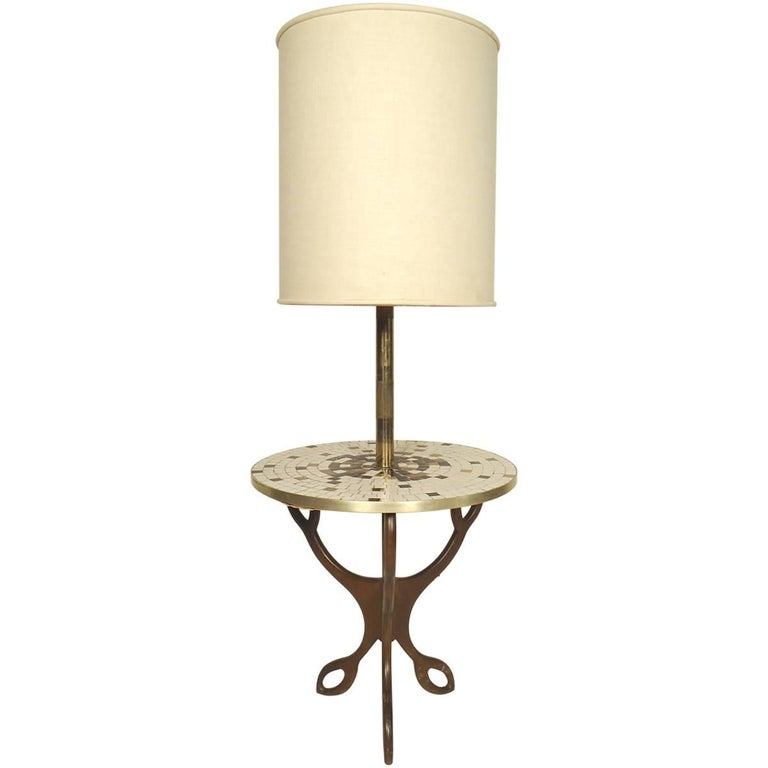 Mid-Century Modern Floor Lamp with Table