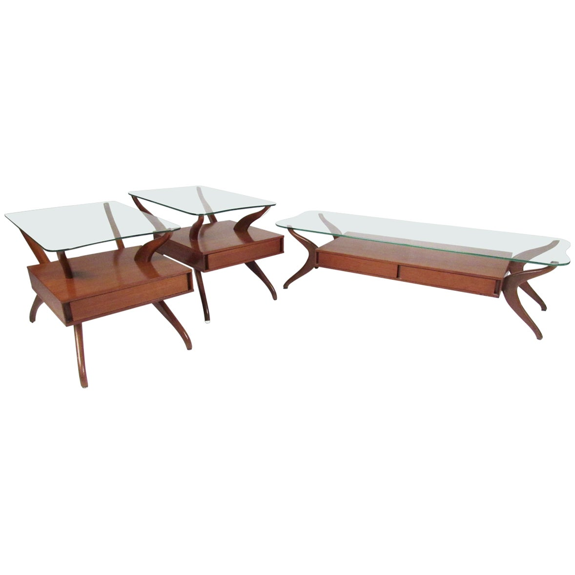 Sculptural Italian Modern Coffee Table Set after Ico Parisi