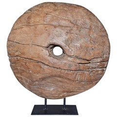 Round Wood Bi Disc Style Sculpture