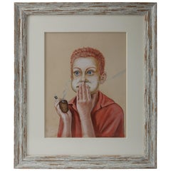 """Young Boy with a Corn Cob Pipe"", Pastel on Paper"