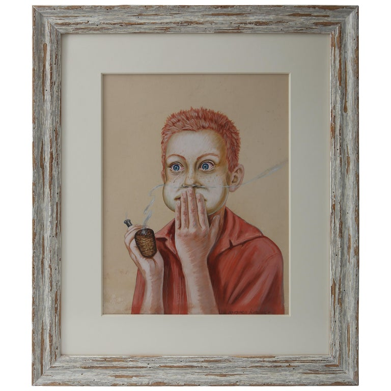 """""""Young Boy with a Corn Cob Pipe"""", Pastel on Paper For Sale"""