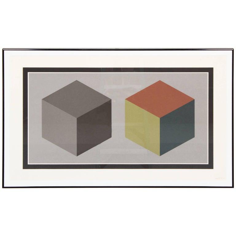 """Sol LeWitt """"2 Cubes"""" Signed Screenprint, 1989"""