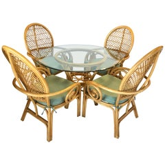 Rattan Bamboo McGuire Style Dining Set Glass Table Four Chairs