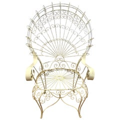 Salterini Wrought Iron White Wire Peacock Large Garden Wingback Chair