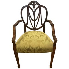 Carved Mahogany Plume Shield Back Armchair
