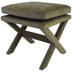 1960s Velvet X-Bench Stool in the Style of Billy Baldwin
