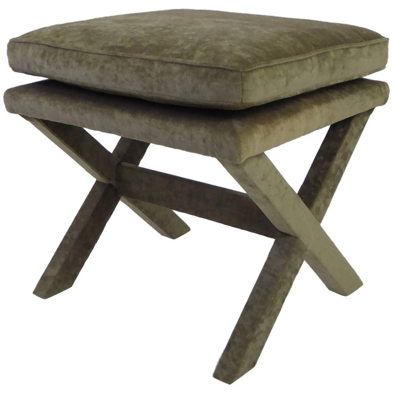 1960s Velvet X-Bench Stool in the Style of Billy Baldwin For Sale
