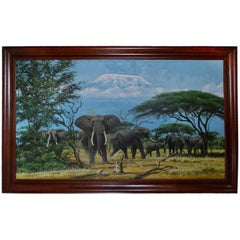Beautiful Large African Painting from Tanzania with Kilimanjaro in the Back