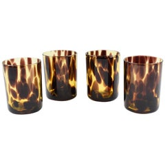 Empoli for Christian Dior Collection Tortoiseshell Glass Barware Set, 4 Pieces