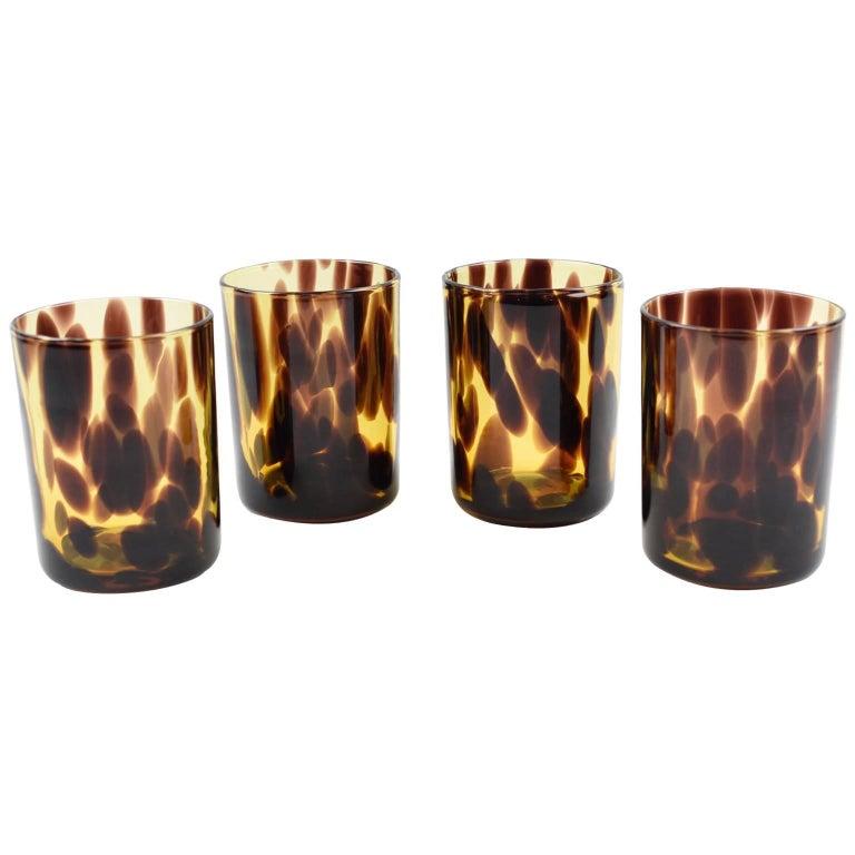 Empoli for Christian Dior Collection Tortoiseshell Glass Barware Set, 4 Pieces