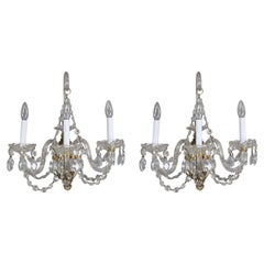Pair of Italian Cut Crystal Three-Light Candle Light Wall Sconces, circa 1930