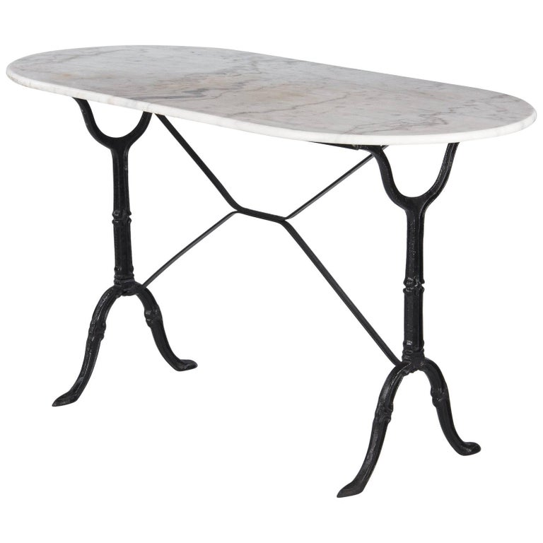 French Bistro Table with Iron Base and Oval Marble Top, 1940s