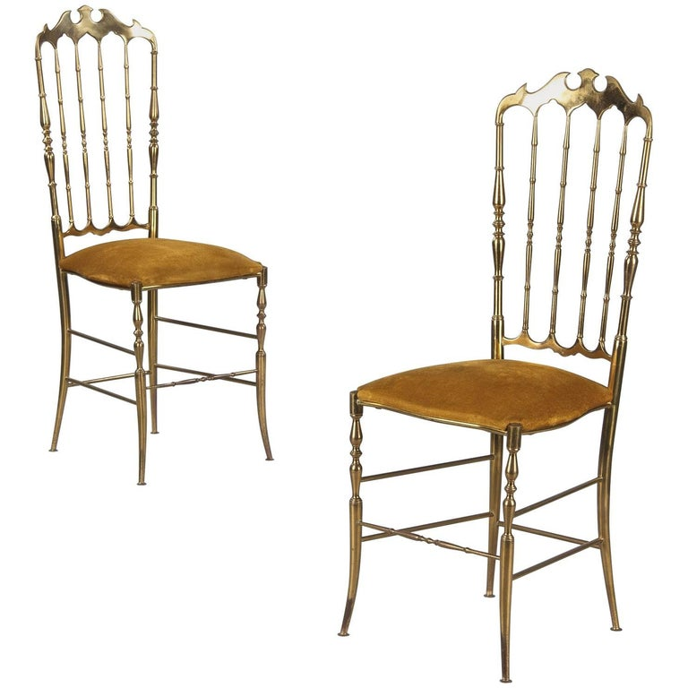 Pair of Brass Chiavari Chairs, Italy, 1960s