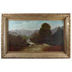 Oversized Antique Hudson River School Landscape Oil on Canvas Painting