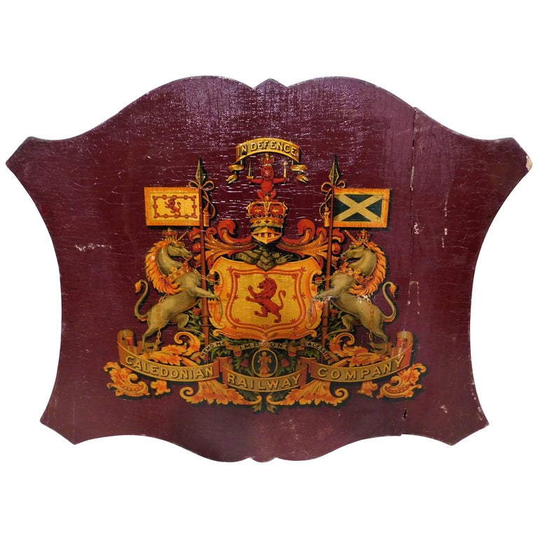 Caledonian Railway Company Coat of Arms on a Wooden Shield 19th Century Sign