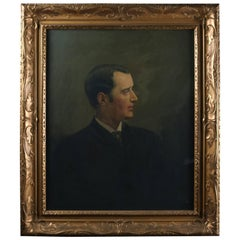 Oil on Canvas Painting Portrait in Profile of Gentleman, Early 20th Century