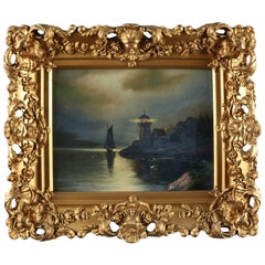 Antique Oil on Canvas Seascape Painting with Lighthouse, Giltwood Framed