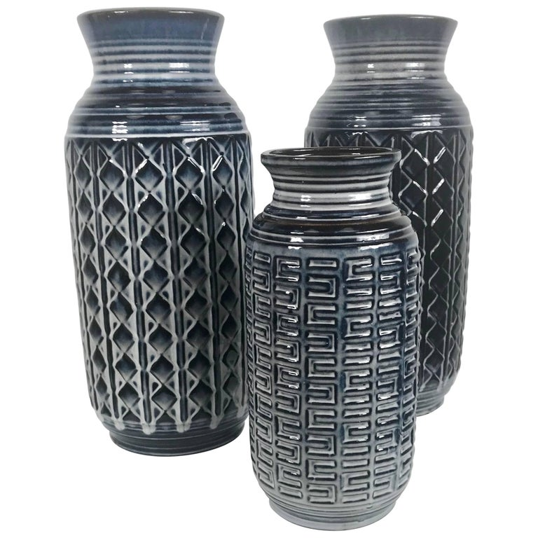 Stunning Set of Three West German Pottery Vessels, Vases