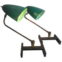 Matched Pair Modernist Task, Desk Lamps, Fiberglass Shades, France