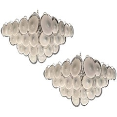 Pair of Italian Disc Chandeliers by Vistosi, Murano, 1970s