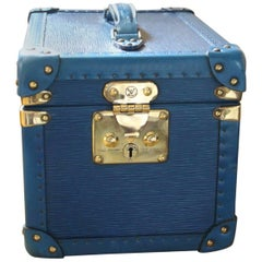 Louis Vuitton All Blue Leather Train Case