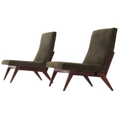 Pair of Italian Green Leather Lounge Chairs, 1960s