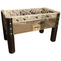 1970s Lucite and Mirror Polished Aluminum Foosball Table
