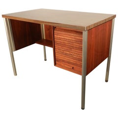 Little Desk in Aluminum, Walnut Veneer and Laminated Top, circa 1960