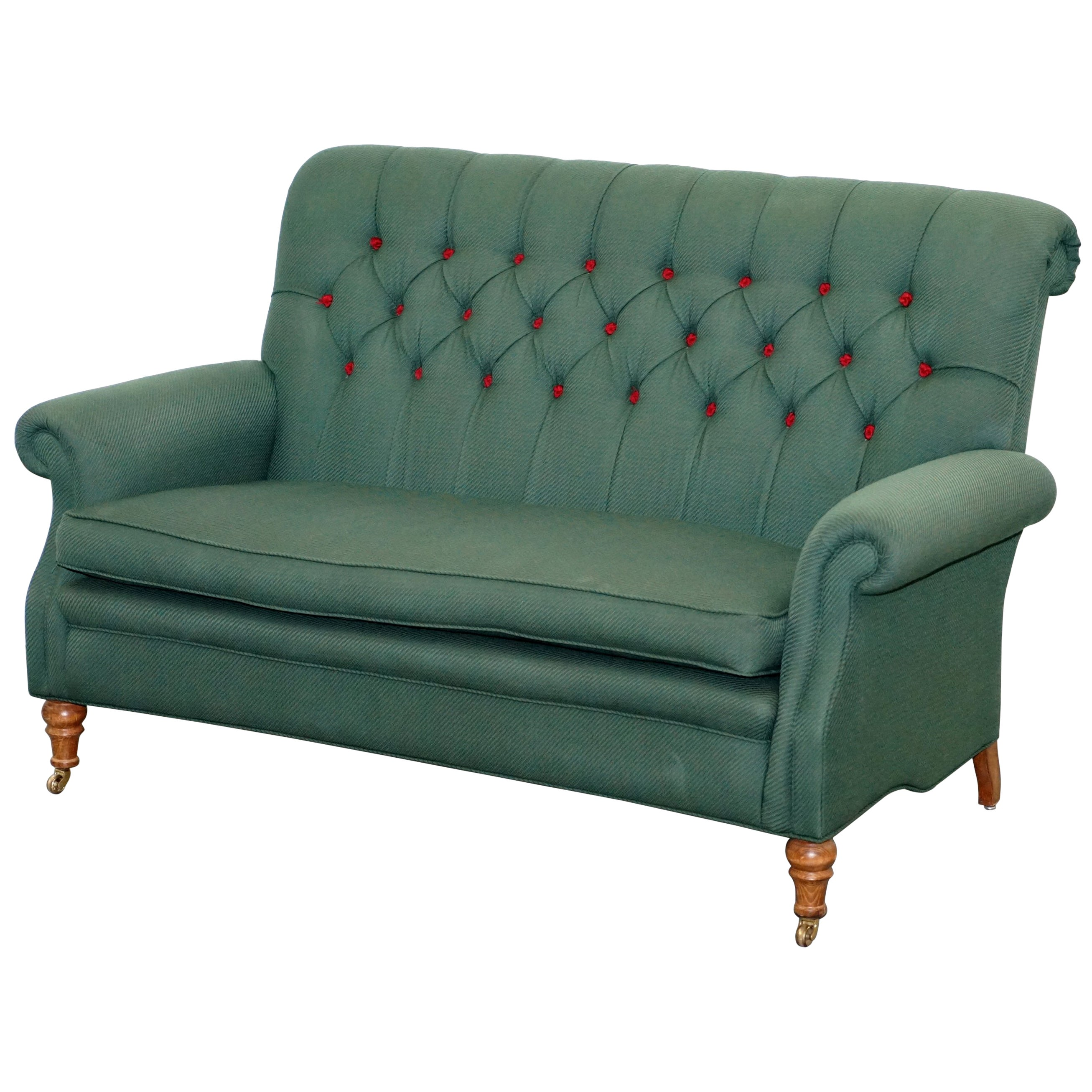 Wellington model howard style chesterfield green upholstery two seat bench sofa for sale at 1stdibs