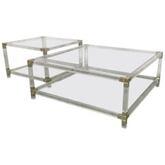 Pair of Midcentury Square Lucite Coffee Tables with Chromed Metal Details