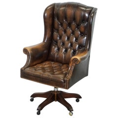 Vintage Wade Chesterfield Captains Wingback Office Chair Hand Dyed Brown Leather