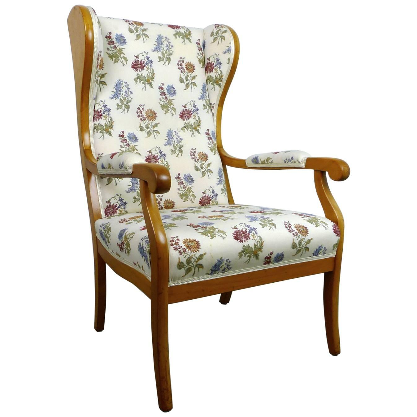 Antique Wingback Chair In Cherry, Germany, 1900 For Sale