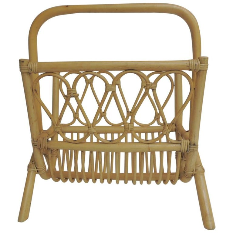 Vintage Bamboo and Rattan Magazine Stand