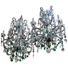 Italian Murano Chandeliers with Colored Glass Details from 1950s