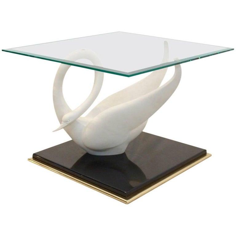 Exquisite Maison Jansen Swan Table, Signed