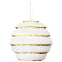 Alvar Aalto Beehive Lamp from Artek Model A331 in White with Brass