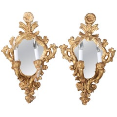 French Rococo Foliate Carved Giltwood Mirrored Candle Sconces, Electric