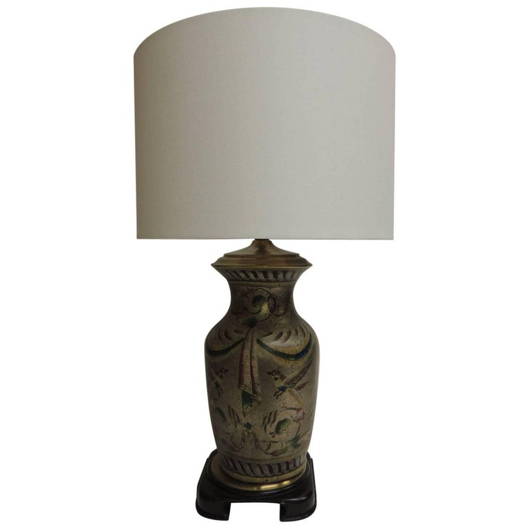 Vintage Hand-Painted Ceramic Table Lamp with Linen Drum Shade
