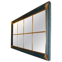 Italian Modern Velvet Framed Mirror with Golden Leaves Details from 1960s
