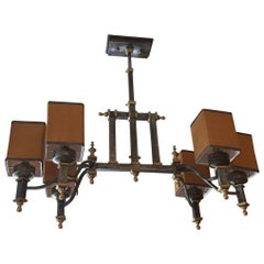 Italian Iron and Brass Chandelier from Early 20th Century with Lampshades